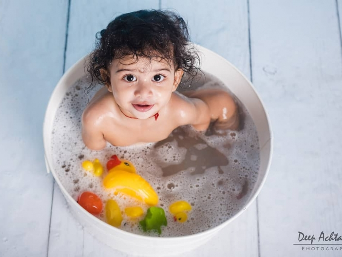 Baby bath photoshoot
